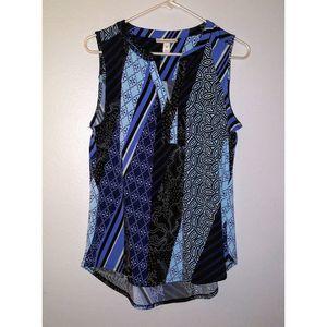 Dana Buchman Medium Blue Sleeveless Patchwork Top